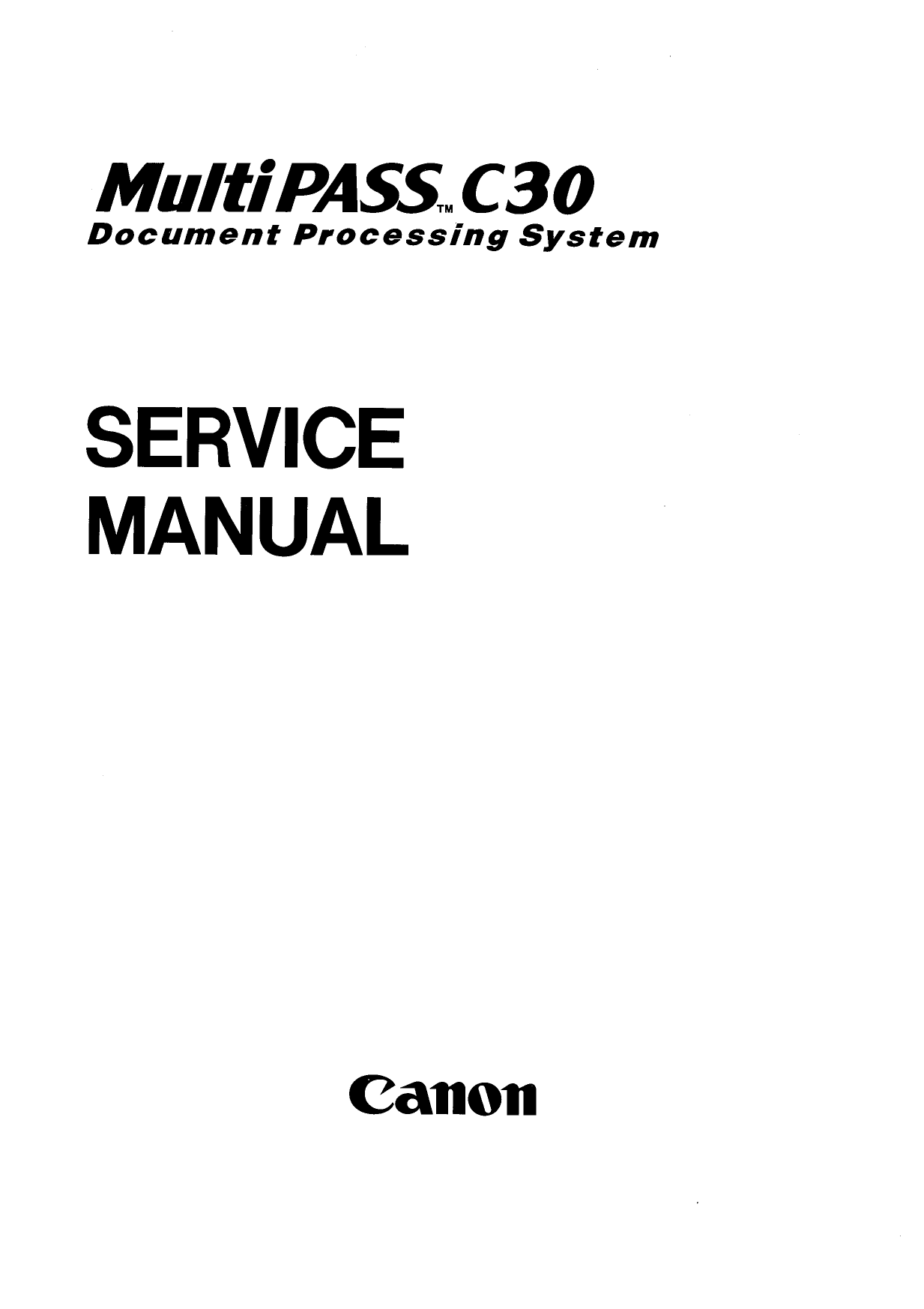 Canon FAX MultiPass-C30 Parts and Service Manual